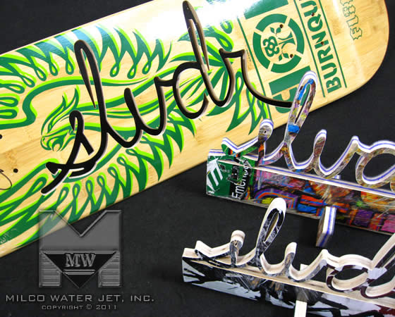 Waterjet Cutting Custom Art Storefront Displays for SLVDR Clothing