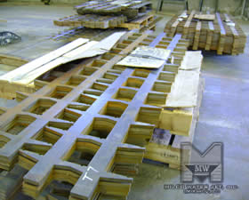 Waterjet Cut 1 inch thick steel beams for Aliante Hotel and Casino in Las Vegas - Raw Stock and Palletized