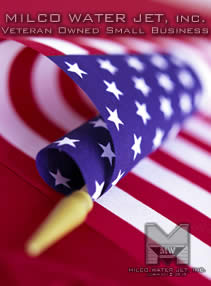 American Flag Proudyl displaying Milco Waterjet is a Veteran Owned Small Business